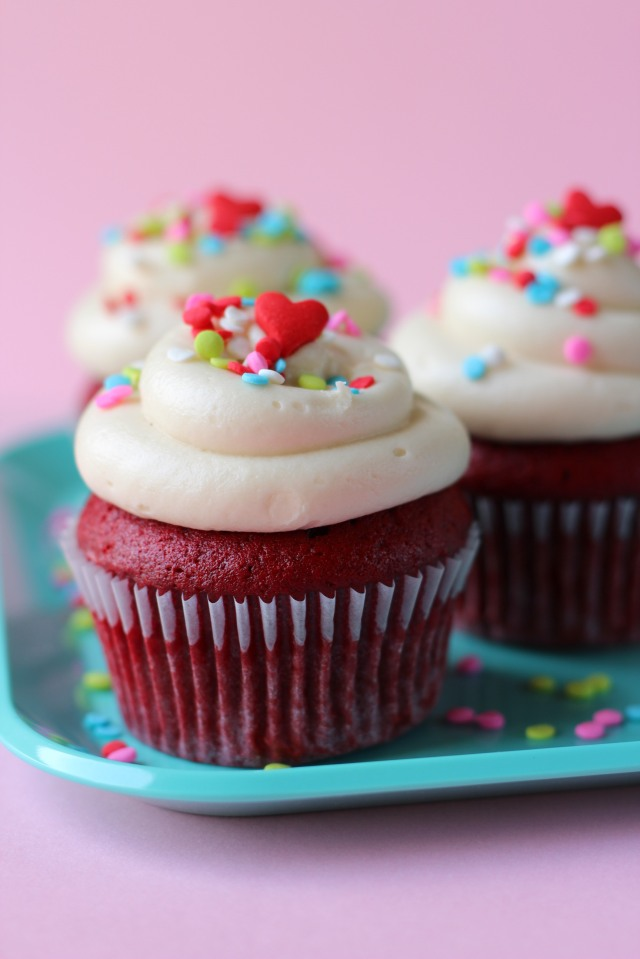Red Velvet Cupcakes via bakeforcoffee.com