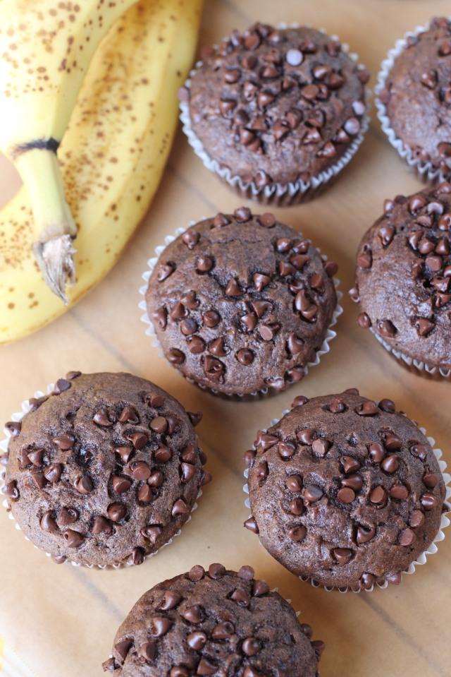 Chocolate Banana Muffins via bakeforcoffee.com
