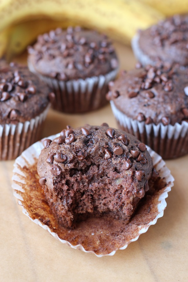 Chocolate Banana Muffins via bakeforcoffee.com